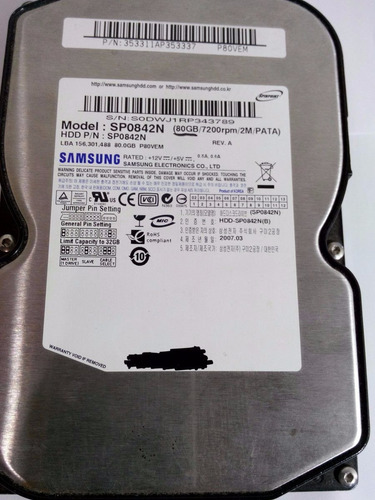 Hd 80gb Samsung Sp0842n Ide 7200 Rpm Ide Original