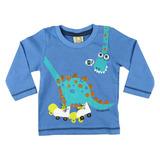 Camiseta Bebê Manga Longa Dinossauro Hrradinhos
