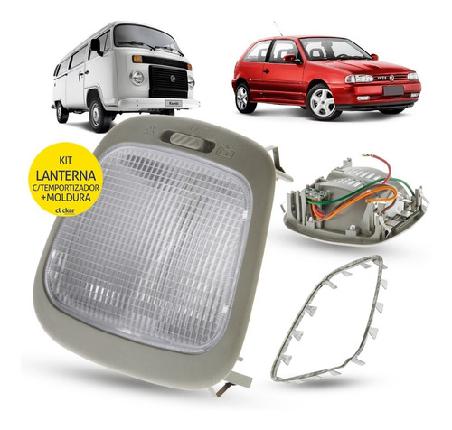 Lanterna Luz Teto+moldura Gol Parati G2 G3 G4 Temporizador Original