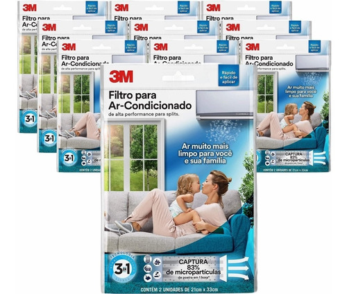Kit Filtros Ar Condicionado Split - 3m Kit C/10 Pacotes Original