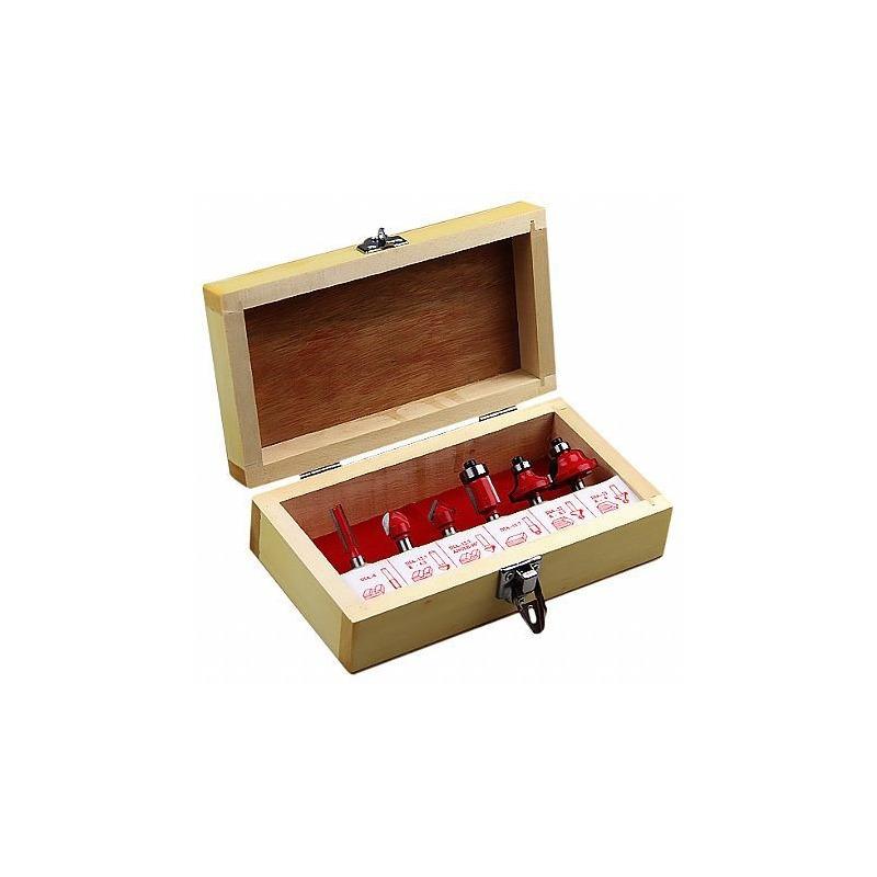 "Kit Combo Tupia 6mm 1/4"" 530 Watts 3709 Makita + Kit de 6 Fresas para Madeira Haste de 1/4"" CQT006"