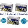 Kit 3 Bateria Moura 12v 9ah Bike Elétrica Patinete Skate Cy