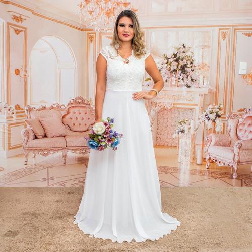 Vestido Noiva Casamento Civil, Praia, Campo, Simples Original