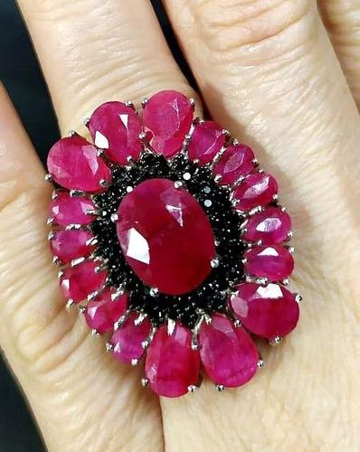 Di4-anel Prata 925 Rubi Espinelio Negro Rodio   Kessel Original