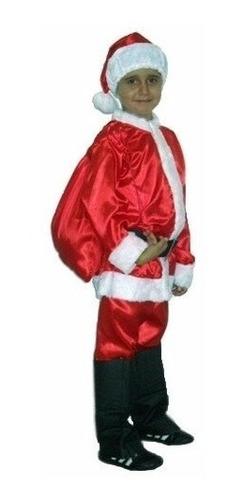 Roupa De Papai Noel Infantil - Fantasia 3 A 10 Anos + Barba Original