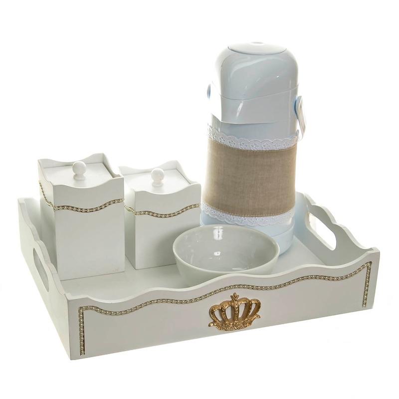Kit Higiene Com Capa Fantasia Perolas Amarelas E Coroa