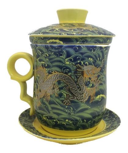 Caneca Infusor De Chá Dragão Oriental Cerâmica Pires Tampa Original