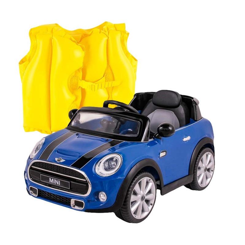 Kit Carro Elétrico Mini Cooper - BelBrink + Colete Boia Inflável Infantil Amarelo- 1822- Mor
