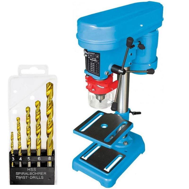Kit Furadeira de Bancada 350 Watts 13mm G2320BR1 + Jogo de 5 Brocas para Metal 3, 4, 5, 6 e 8mm MTX - Gamma Ferramentas - 110 Volts