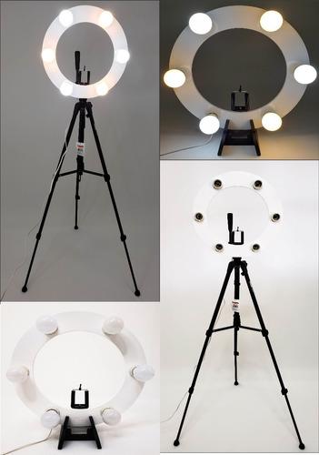 Ring Light 06 Soquetes E27 2em1 + Tripé 1,50 + Kit Selfie Original
