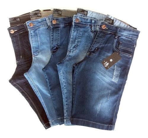Kit 3 Bermudas 36-56 Jeans Masculina Slim Promocional Original