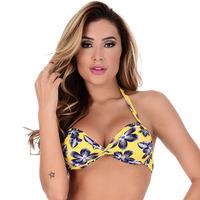 Top Summer Soul Meia Taça Com Bojo e Entrelaçado Floral Amarelo