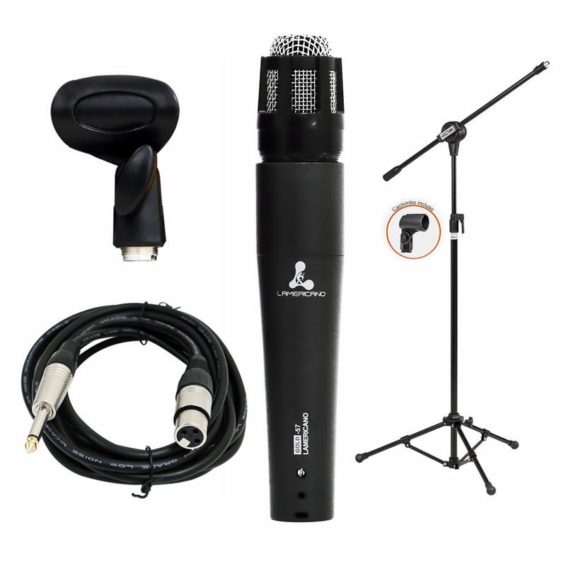 Microfone Lamericano Gold-57 Arcano + Pedestal Ar001