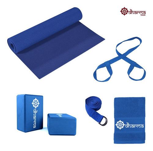 Kit Yoga Completo - Mat Azul+alça+cinto+2 Blocos+toalhinha