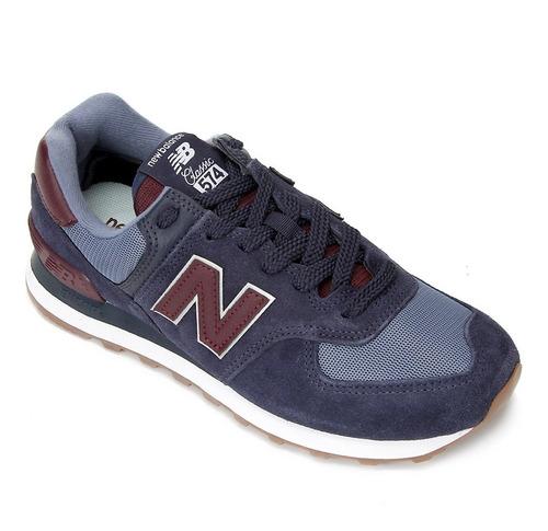 Tênis Masculino Couro New Balance 574 Marinho  C/nf Original