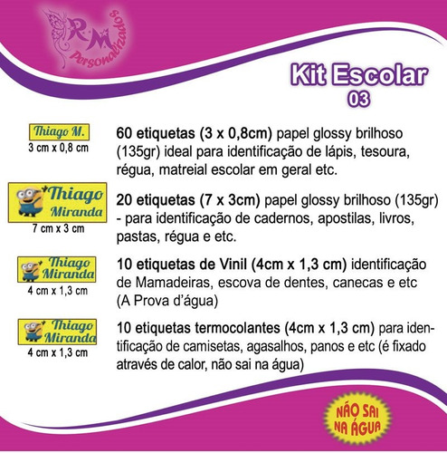 Etiqueta Personalizada - Kit Escolar 03