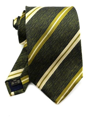 Oferta Gravata Italiana Seda Verde Listrada Dourado B0338 Original