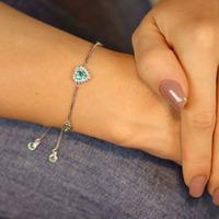 Pulseira prata 925 coração esmeralda regulável - PL040046