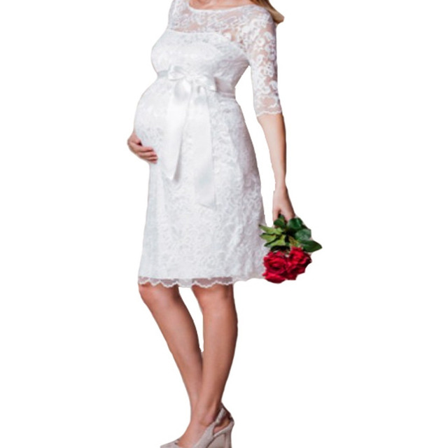 Vestido Gestante Casamento Civil Simples Renda Noiva Vrm81