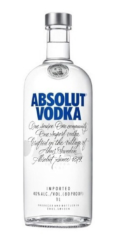 Vodka Absolut Natural 1 Litro C/  E Selo Ipi Original
