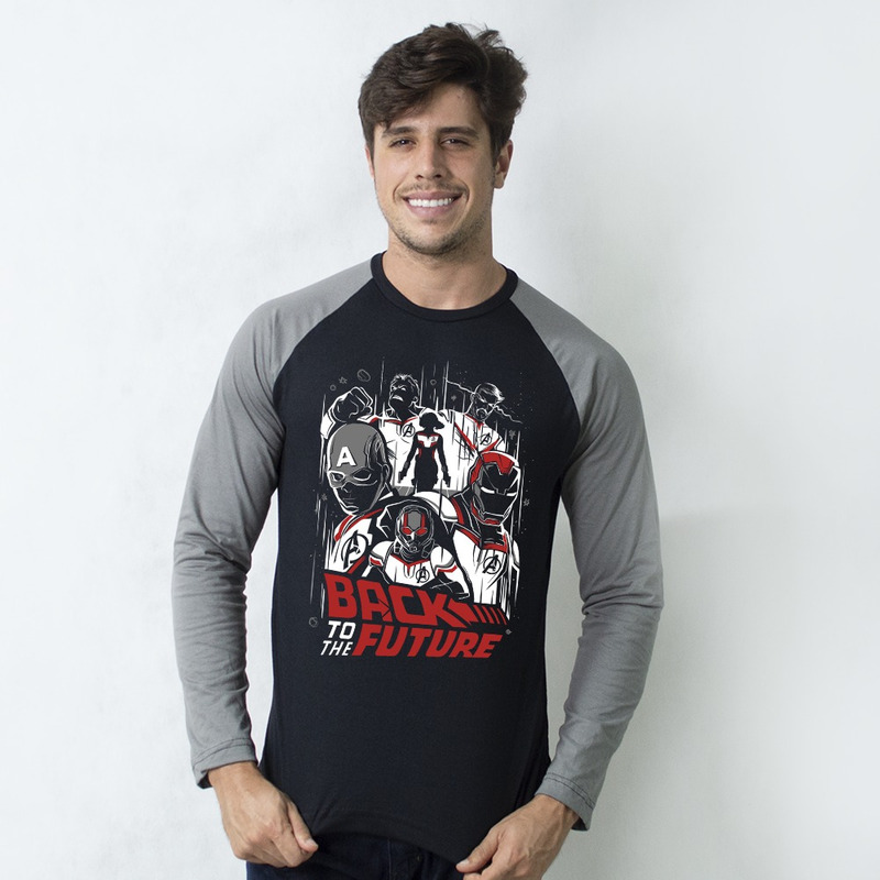 MANGA LONGA RAGLAN PRETA - BACK TO THE FUTURE