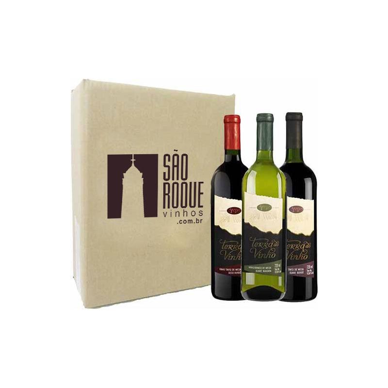 Kit Vinho Bordô Suave + Seco + Branco Niagara - Adega Terra do Vinho