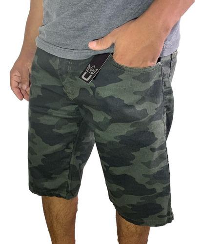 Bermuda Shorts Camuflado Jeans Sarja Lycra Colorido Oferta Original