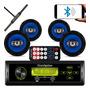 Kit 4 Falante 6 Pol Rádio Carro Mp3 Usb Bluetooth Antena