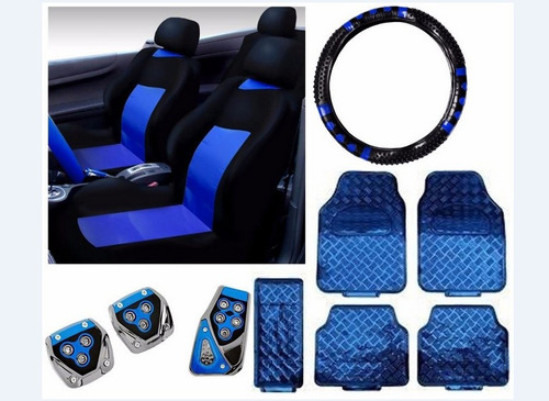 Kit Azul Capa Banco Carro+tapeet Ford Ka 96 97 98 99 2000
