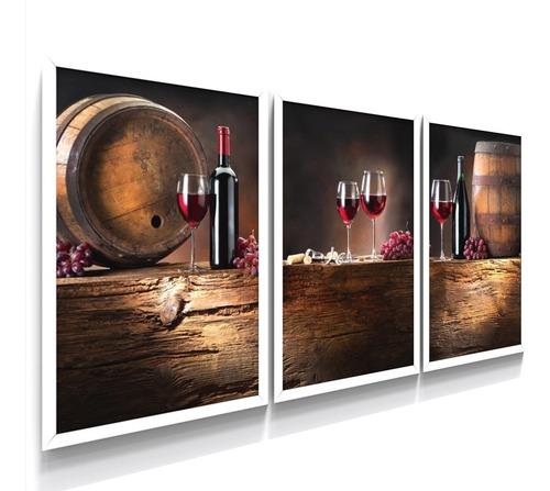 Quadro Decorativo De Parede Moldura Vinho Adega Cozinha Sala Original