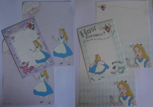 Conjuntos De Papel De Carta Alice Disney Importado Lote 166