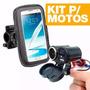 Tomada 12v E 5v Usb Moto Carrega Celular Gps Suporte 5.5