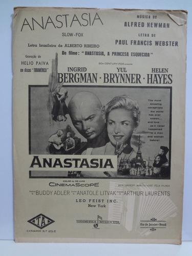 Partitura Piano Anastasia  Newman Ingrid Bergman Yul Brinner Original