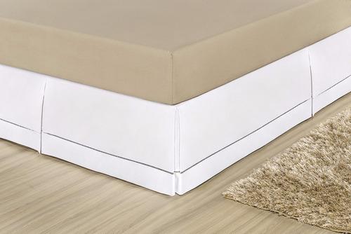 Saia Para Cama Box Em Percal 100%algodão Ponto Palito Branca Original