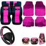 Kit Feminino Rosa Pink Capas Bancos Carro E Acessórios 16pçs