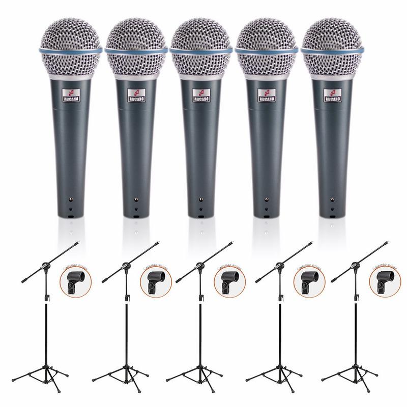 Kit 05 Microfones Arcano OSME8-KIT Cabos P10 + 05 Pedestais