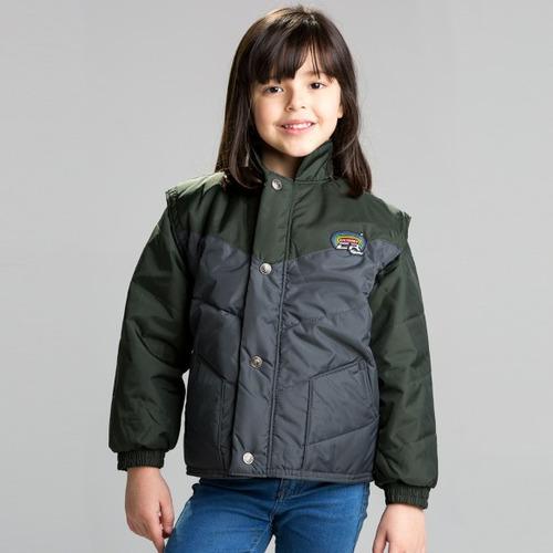 Jaqueta California Infantil Cinza / verde Pp ( xs ) Rs1