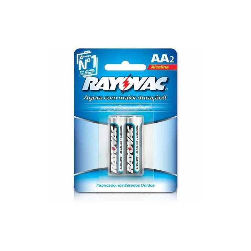 Pilha Alcalina Rayovac AA2 1.5v Cartela C/ 2 Unidades