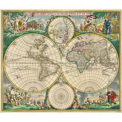 Mapa Do Mundo Antigo 90cmx106cm Decorao Vintage Sculo 17  R