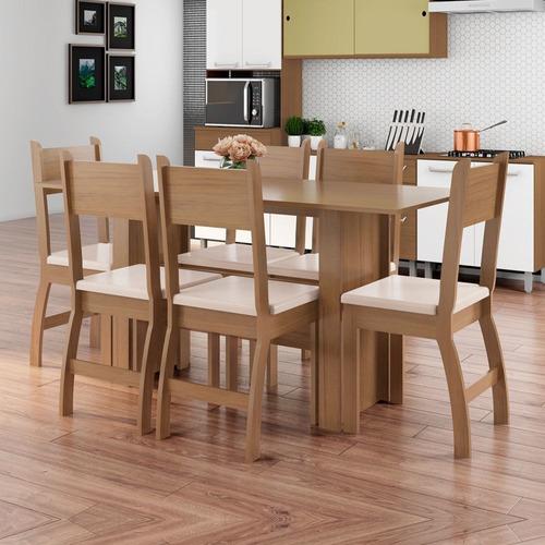Conjunto Sala De Jantar Mesa Com 6 Cadeiras Milano Poliman Original