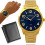 Relógio Masculino Dourado Condor Ouro 18k Carteira Brinde