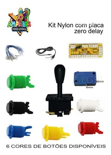 Kit Arcade 10 Botões Nylon Aegir+1 Comando+1placa Zero Delay Original