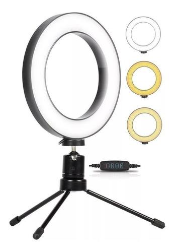 Ring Light De Mesa Iluminador De Led Tripé 6 Polegadas 16cm Original
