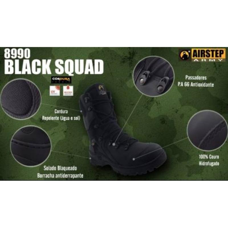 Coturno Bota Tática Militar Airstep 8990 Preto Black Squad