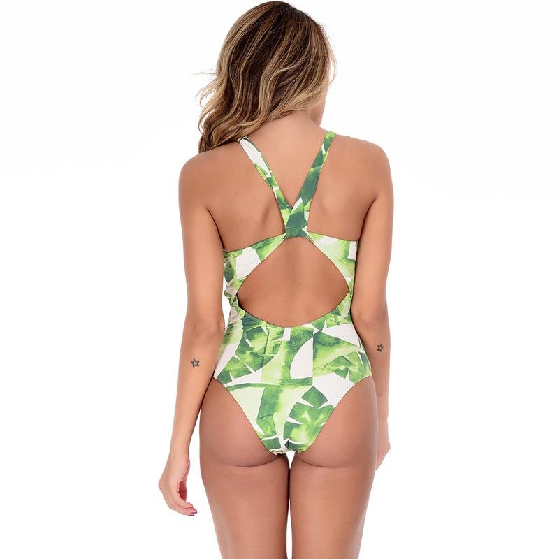 Maiô Summer Soul Frente Única Folhas Verde