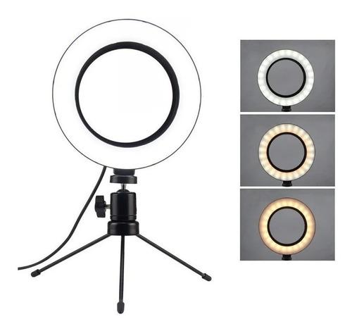 Ring Light 6 Pol Anel 16cm Tripé De Mesa 13cm Iluminador Led Original