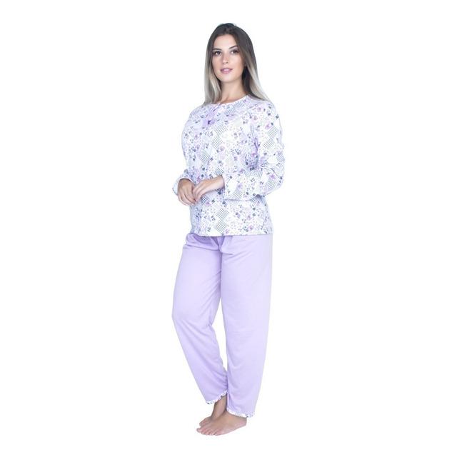3bc503ab76b5ff Kit 5 Pijama Longo Inverno Blusa Botões Calça Adulto 017 em Nova ...