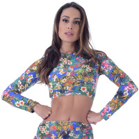 Top Summer Soul Cropped Manga Longa Azul Royal Flores