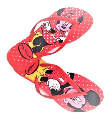 Chinelo Personalizada Mickey Minnie Personagens Slim Original
