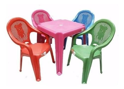 Conjunto Mesa +4 Cadeira Poltrona Cm Apoio De Braço Infantil Original
